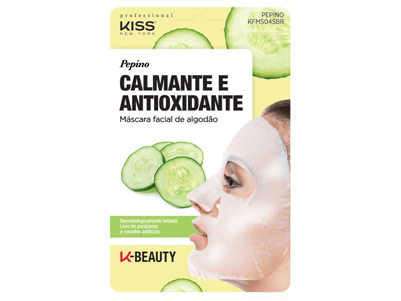 Máscara Facial Kiss New York Professional - K-Beauty Pepino Calmante e Antioxidante 20ml