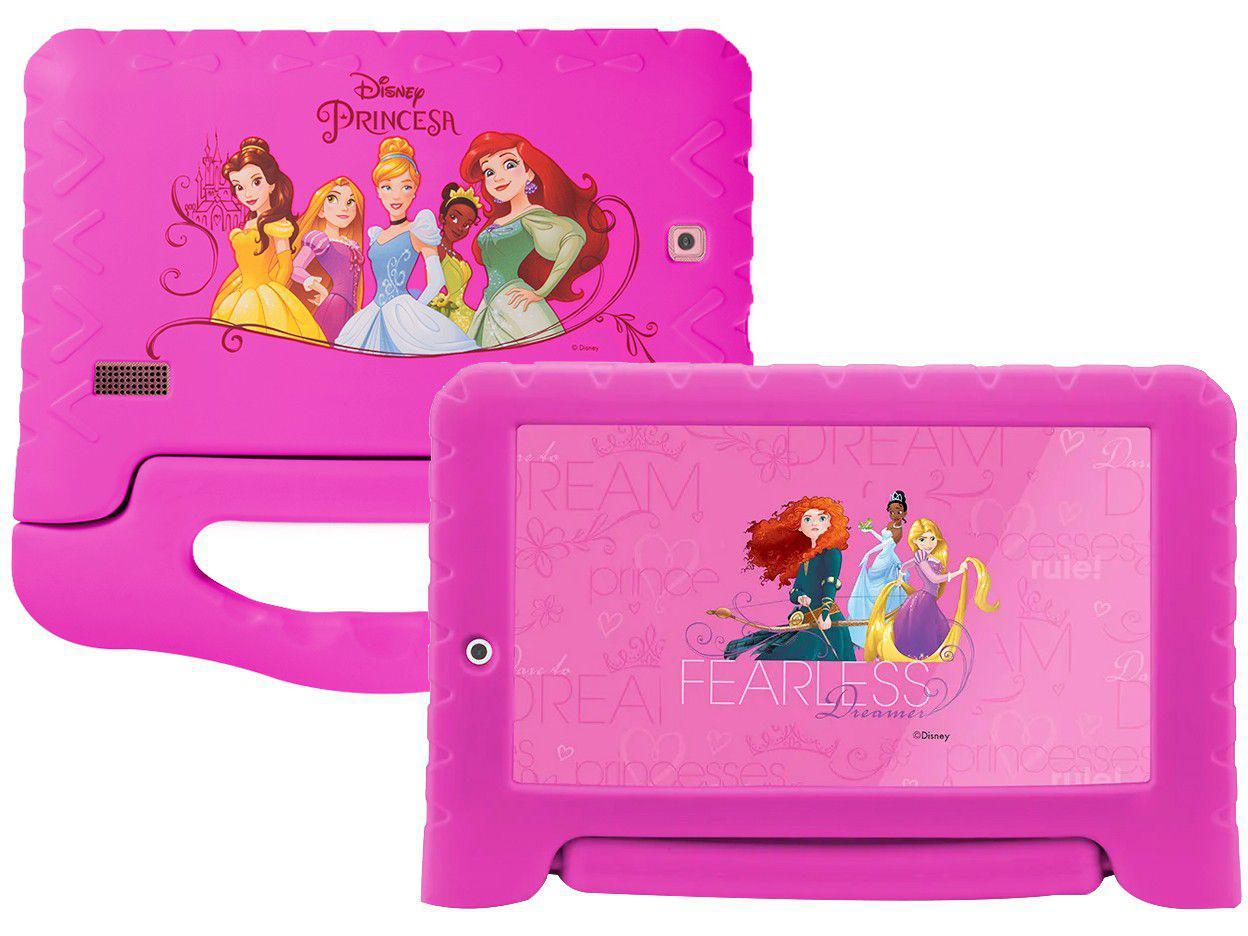 "Tablet Infantil Multilaser Princesas Plus com Capa - 7"" Wi-Fi 16GB Android 8.1 Quad-Core Câm. Integrada"