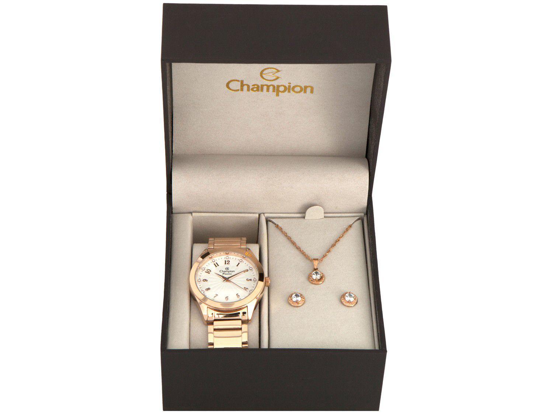 Relógio Feminino Champion Analógico CN29409E - Rosé com Brinco e Colar