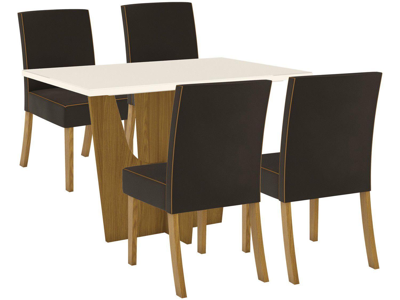 Mesa de Jantar 4 Lugares Retangular Tampo de Vidro - Henn Leonice