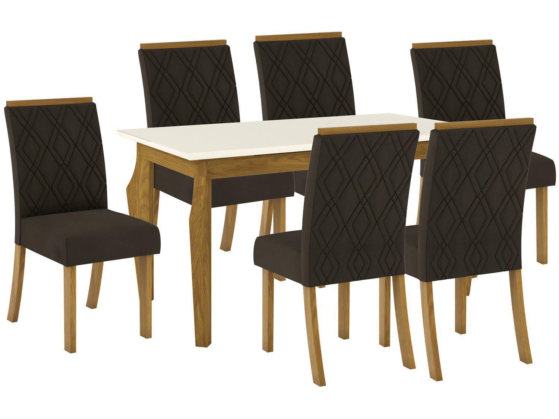 Mesa de Jantar 6 Lugares Retangular Tampo de Vidro - Henn Marisa