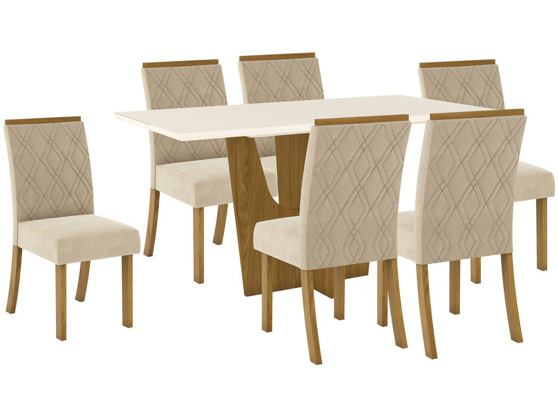 Mesa de Jantar 6 Lugares Retangular Tampo de Vidro - Henn Roberta