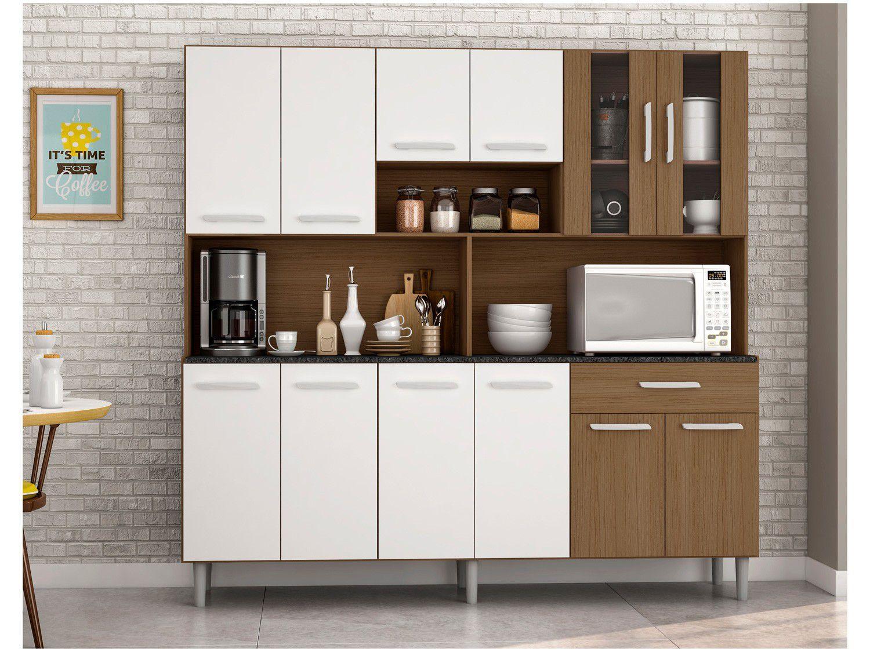 Cozinha Compacta Poliman Móveis Clara com Balcão - 12 Portas 1 Gaveta
