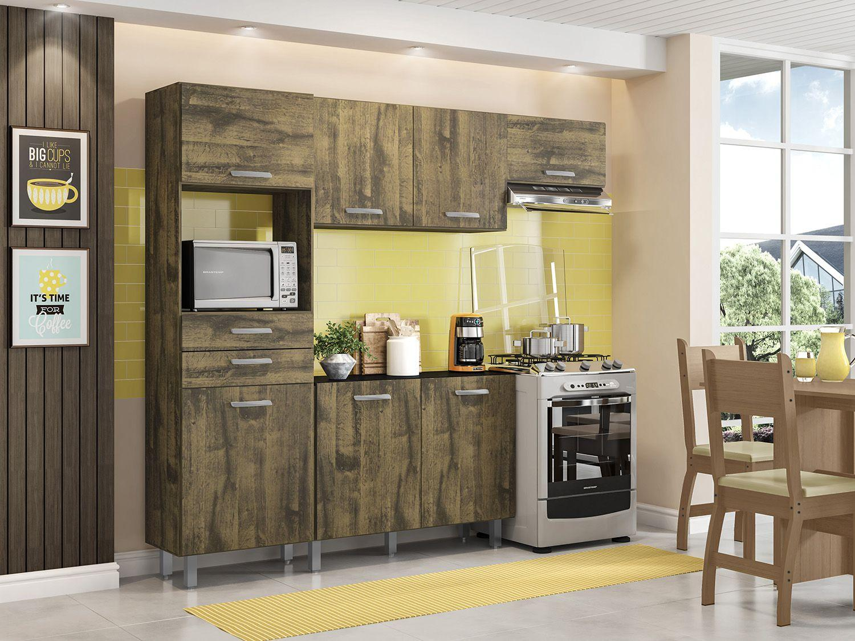 Cozinha Compacta Poliman Móveis Lia com Balcão - Nicho para Micro-ondas 7 Portas 2 Gaveta