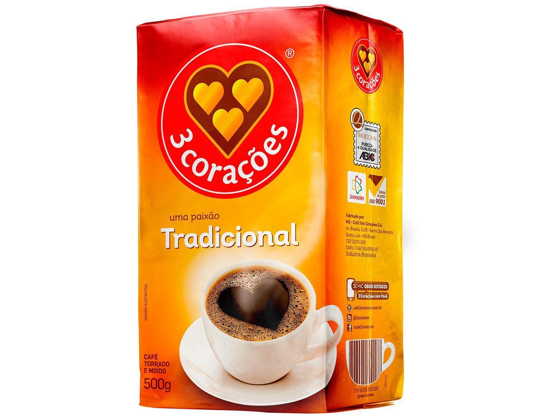 Café Torrado e Moído 3 Corações Tradicional - a Vácuo 500g