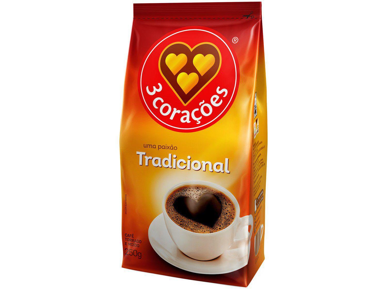 Café Torrado e Moído 3 Corações Tradicional - Pacote 250g