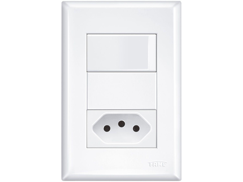 Conjunto Interruptor Simples e Tomada 2P+T 10A - Fame 4x2 Evidence Branco