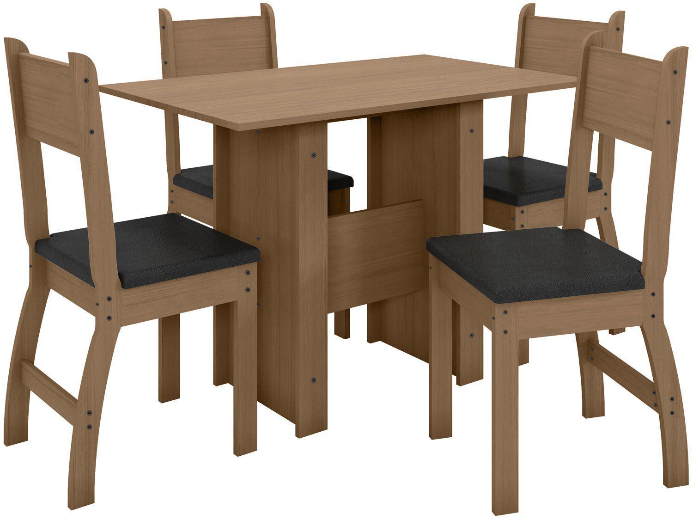 Mesa de Cozinha 4 Cadeiras Retangular Milano - J57080 Poliman Móveis