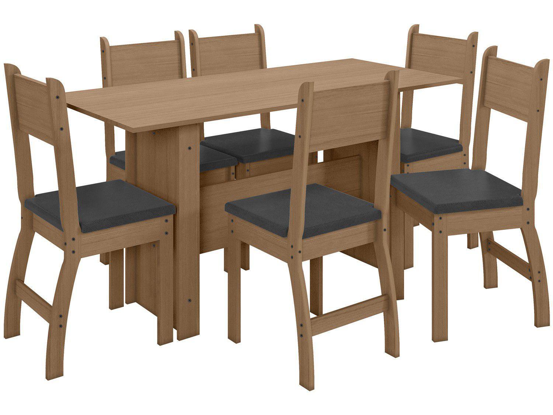 Mesa de Cozinha 6 Cadeiras Retangular Milano - J58080 Poliman Móveis