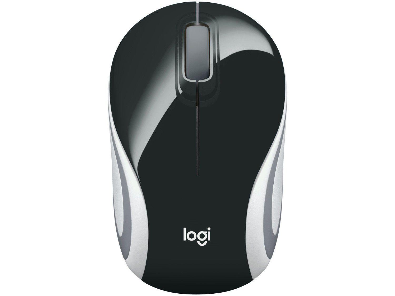 Mini Mouse sem Fio Logitech Laser 1000DPI 3 Botões - M187 Preto