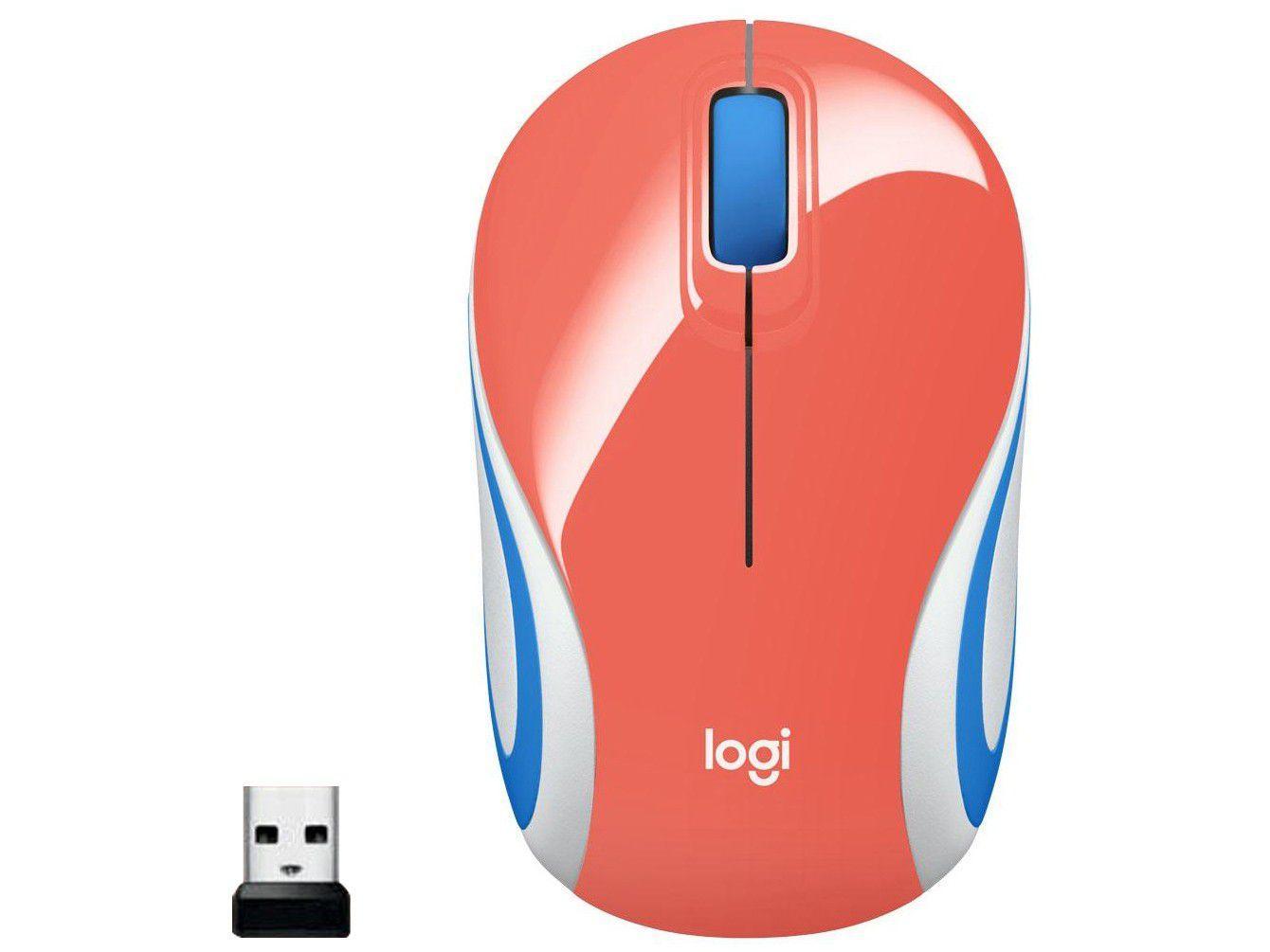 Mini Mouse sem Fio Logitech Laser 1000DPI 3 Botões - M187 Coral