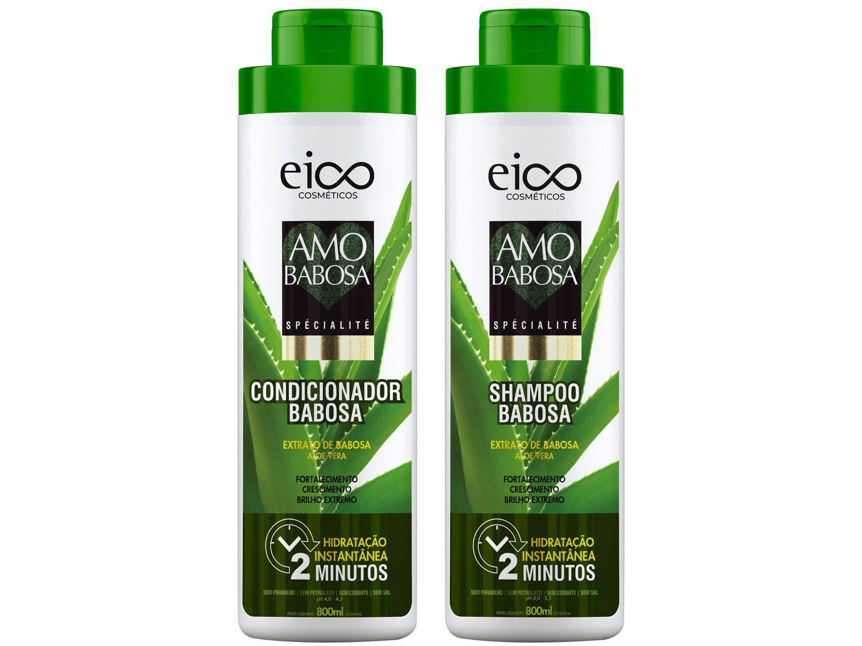 Kit Shampoo e Condicionador Eico Cosméticos - Amo Babosa 800ml cada