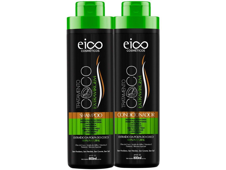 Kit Shampoo e Condicionador Eico Cosméticos - Óleo de Coco 800ml cada