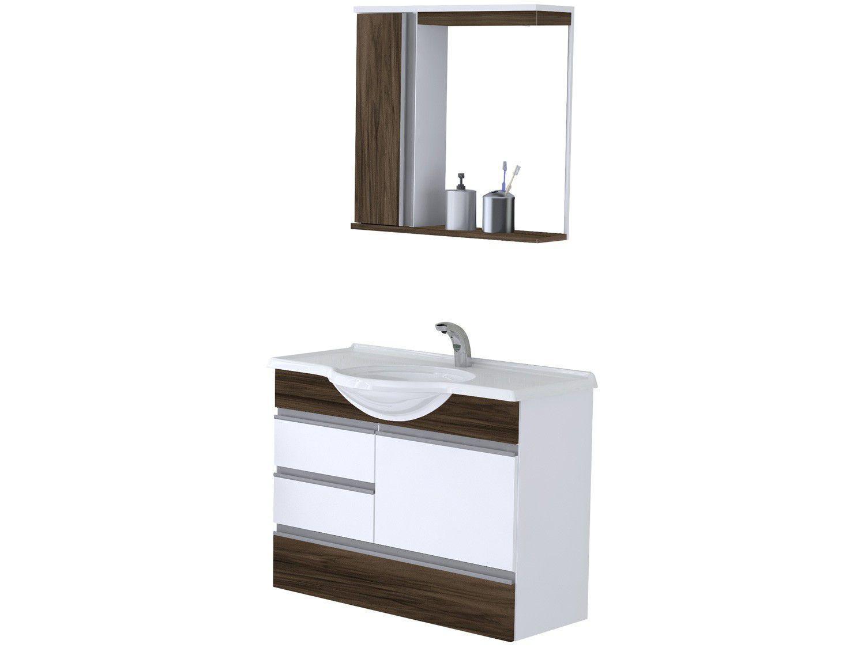Armário de Banheiro Aéreo com Espelho 2 Portas - 3 Gavetas 1 Prateleira A. J. Rorato Florence