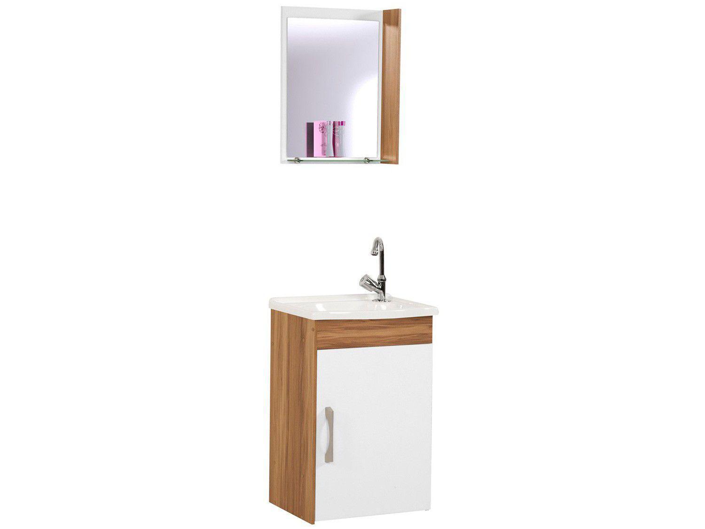 Armário de Banheiro Aéreo com Espelho 1 Porta - 1 Prateleira A. J. Rorato Veneza 520829