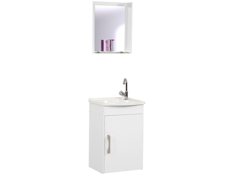 Armário de Banheiro Aéreo com Espelho 1 Porta - 1 Prateleira A. J. Rorato Veneza 520841