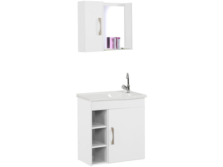 Armário de Banheiro Aéreo com Espelho 2 Porta - 1 Prateleira A. J. Rorato Veneza 521641