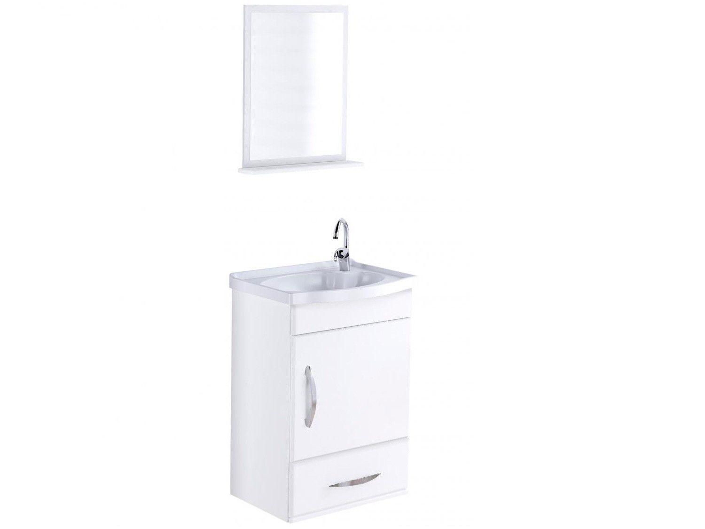 Armário de Banheiro Aéreo com Espelho 1 Porta - 1 Gaveta 1 Prateleira A. J. Rorato Verona 578102