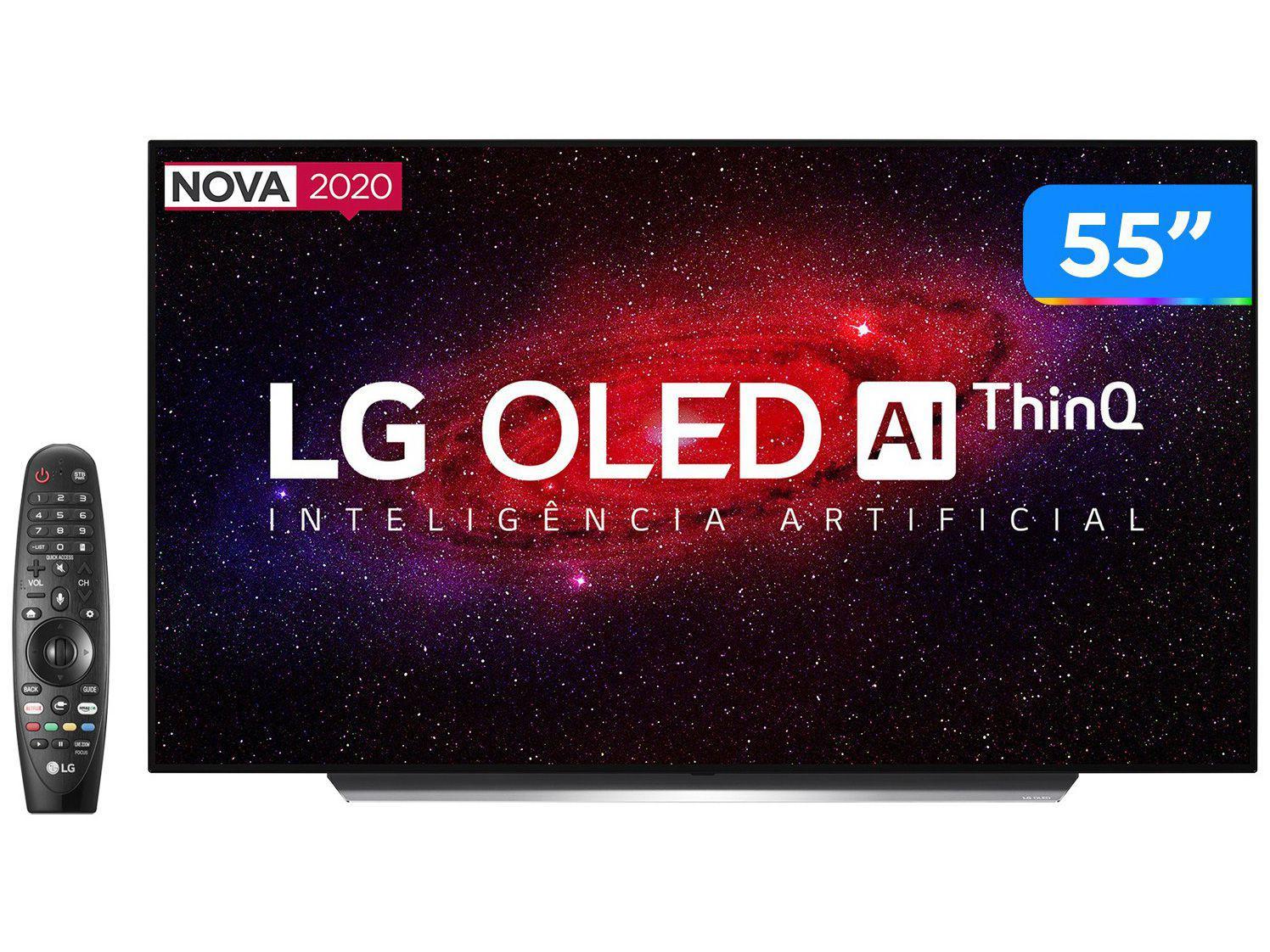 "Smart TV 4K OLED IPS 55"" LG OLED55CXPSA - Wi-Fi Bluetooth HDR Inteligência Artificial 4 HDMI"
