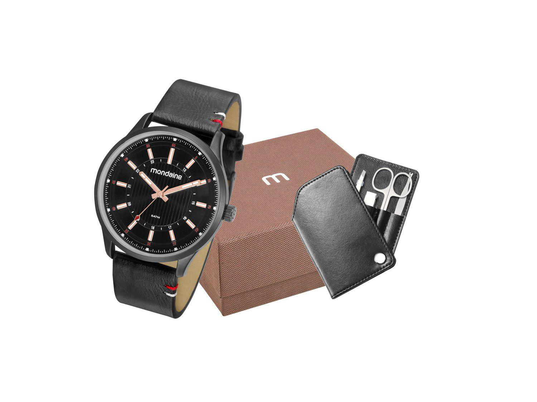 Relógio Masculino Mondaine Analógico - 53796GPMVPH1K1 Preto com Acessório