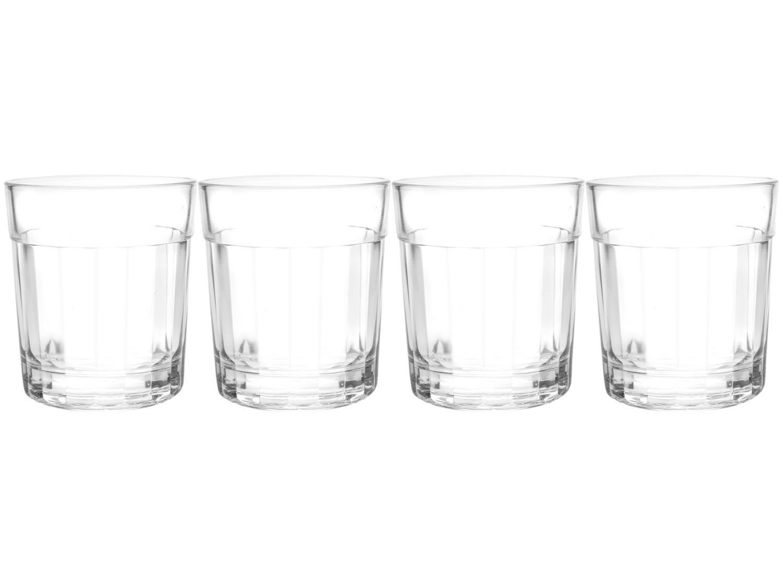 Jogo de Copos de Vidro Whisky Cristalino 350ml - 4 Peças Double Old Fashioned