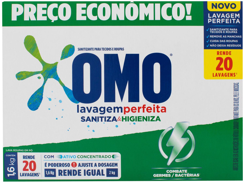 Sabão em Pó Omo Lavagem Perfeita - Sanitiza e Higieniza Concentrado 1,6kg