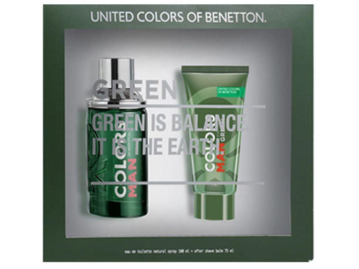 Kit Perfume Benetton Colors Man Green Masculino - Eau de Toilette 100ml com Gel Pós-Barba 75ml 2 Uni