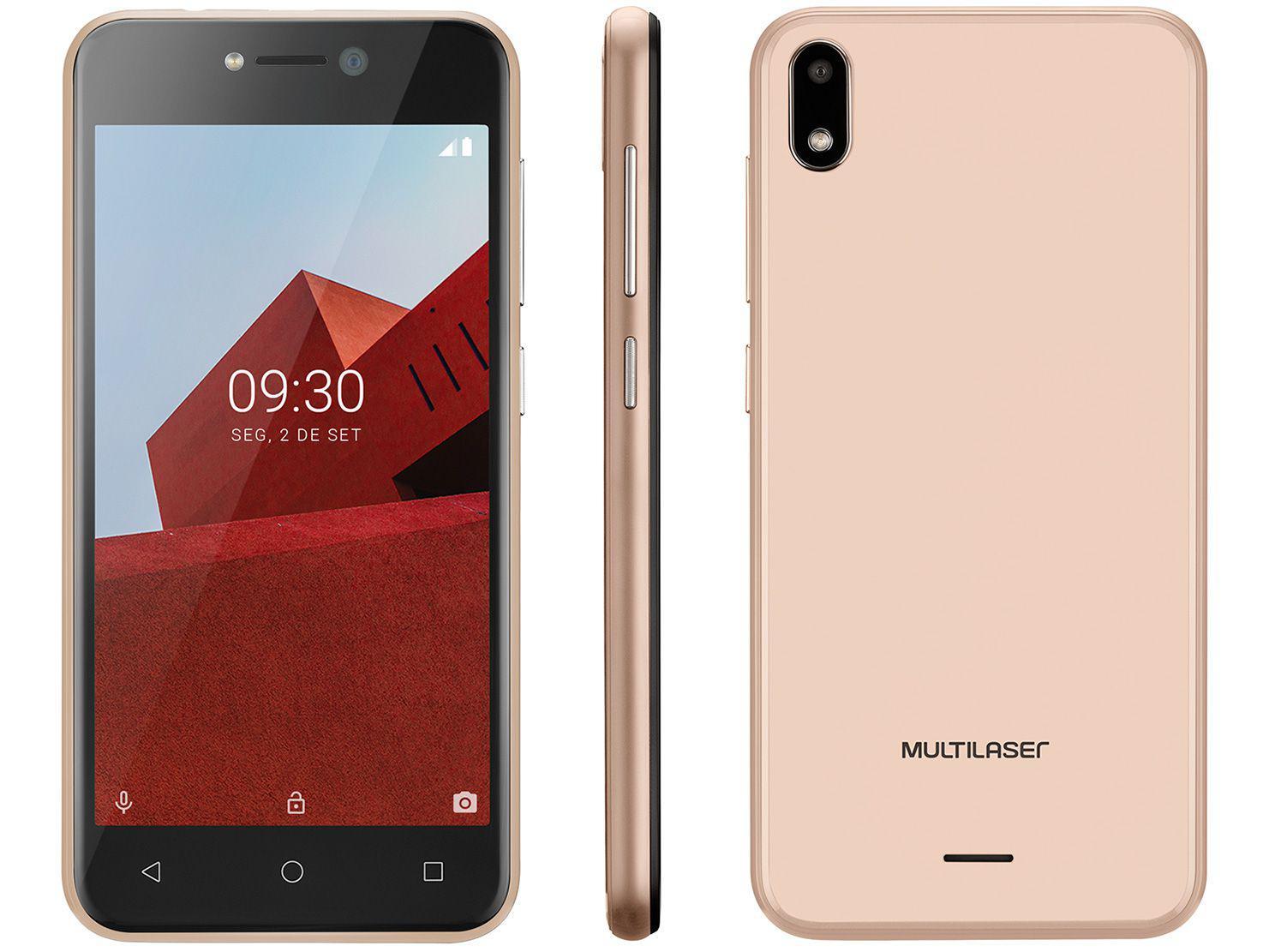 """Smartphone Multilaser E P9129 32GB Dourado 3G - Quad-Core 512MB 5"""" Câm. 5MP Dual Chip"""