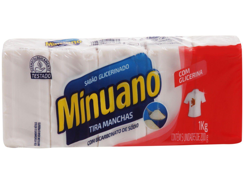 Sabão em Barra Minuano Tira Manchas 1kg 5 Unidades