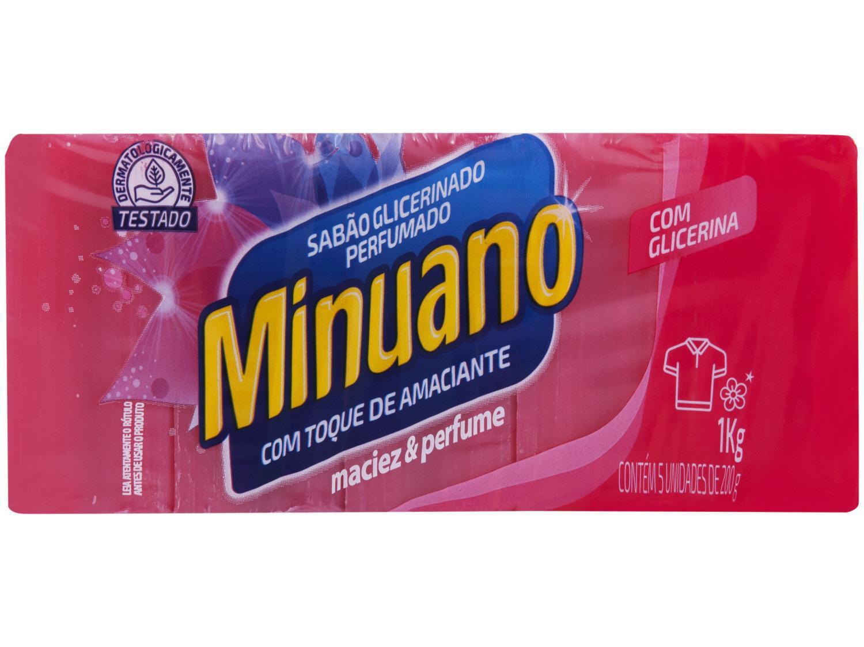 Sabão em Barra Minuano Toque de Amaciante 1kg - 5 Unidades