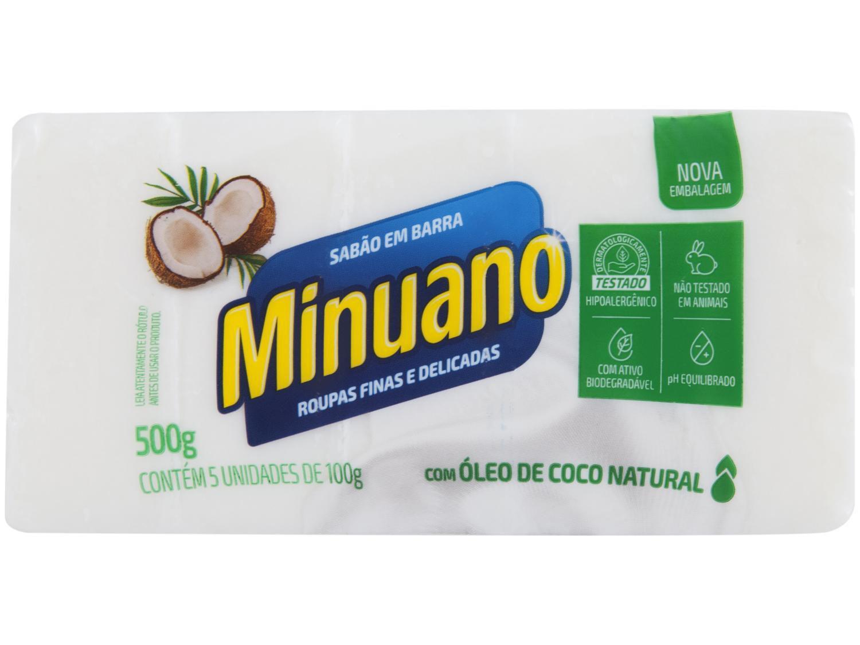 Sabão em Barra Minuano Coco 500g 5 Unidades
