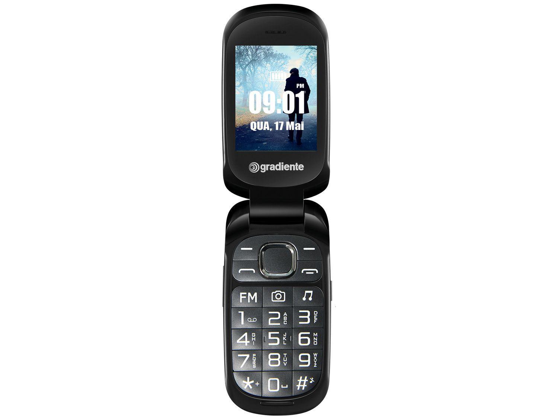 Celular Gradiente 105A Flip Dual Chip 32MB - Rádio FM MP3 Desbloqueado