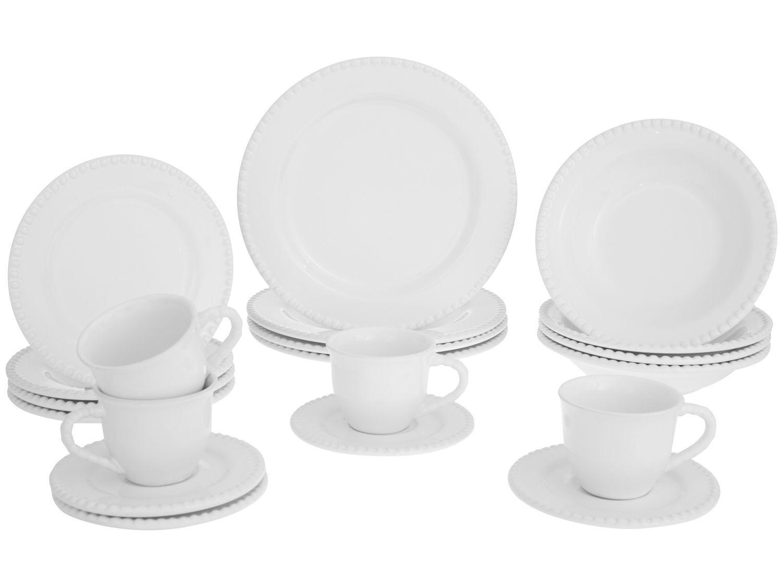 Aparelho de Jantar Chá 20 Peças Cerâmica Scalla - Redondo Branco Bolinha