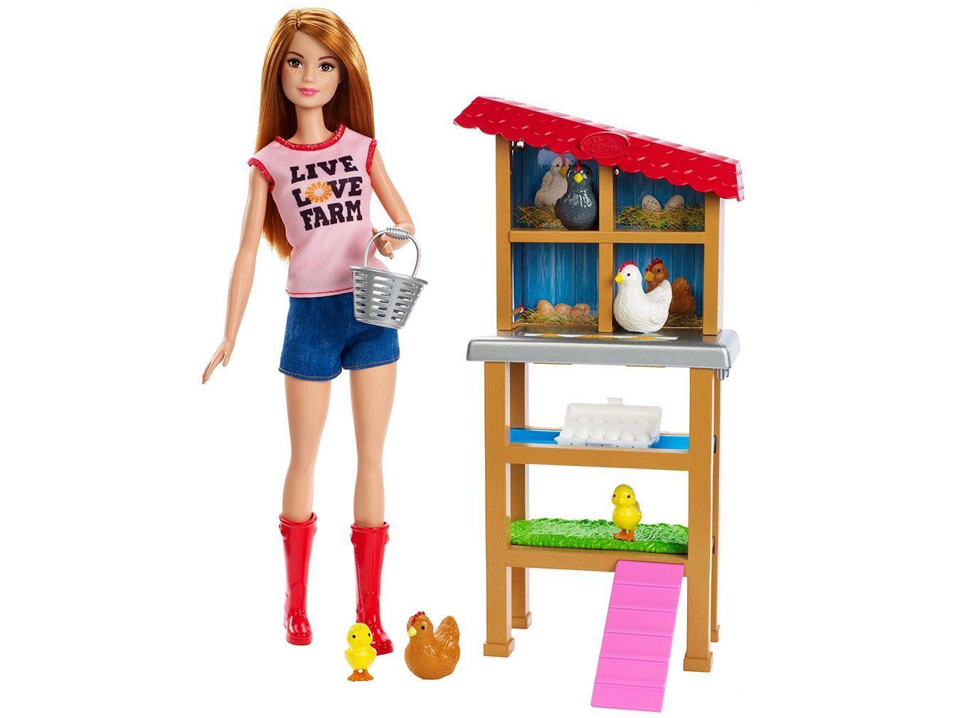 Playset Barbie Profissões Fazendeira - Mattel 9 Peças