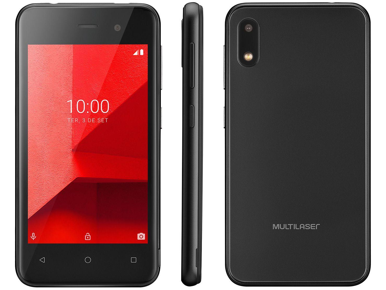 """Smartphone Multilaser E Lite P9126 32GB Preto 3G - Quad-Core 512MB 4"""" Câm. 5MP Dual Chip"""