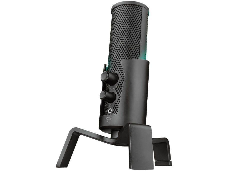 Microfone Condensador Profissional Streaming - para PC Trust Fyru GXT 258 USB com Tripé
