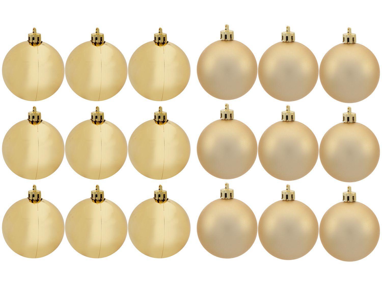Kit Bola de Natal Dourada Lisa NATAL035M - Casambiente 7cm 18 Unidades