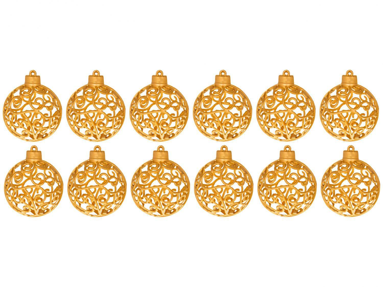 Kit Bola de Natal Dourada com Arabesco NATAL043M - Casambiente 6cm 12 Unidades