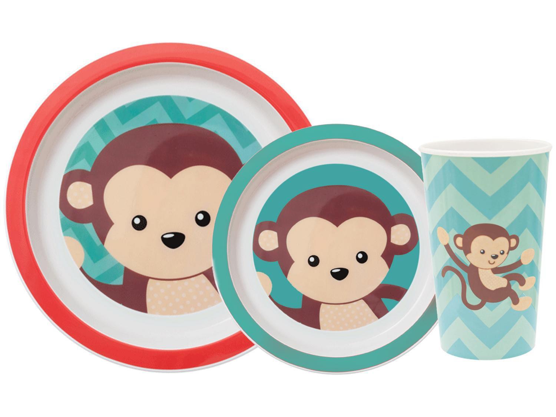 Kit Alimentação Infantil 3 Peças Buba Animal Fun - Macaco