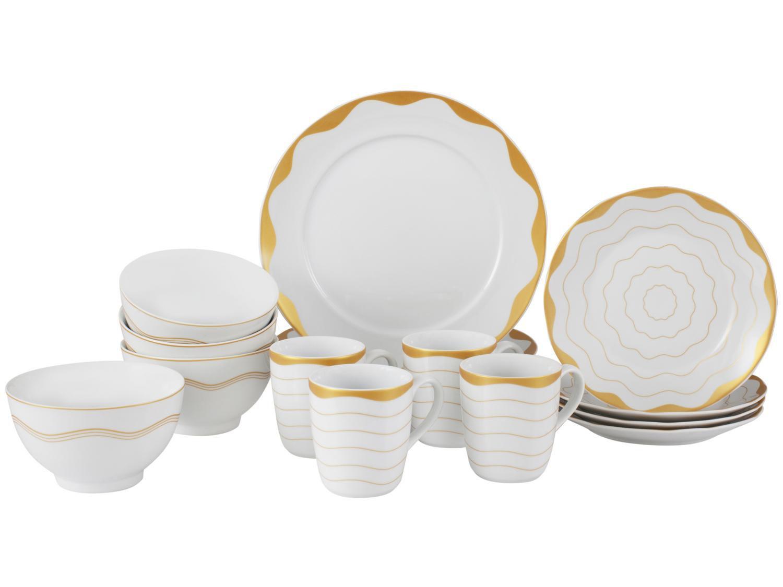 Aparelho de Jantar 16 Peças Schmidt Porcelana - Redondo Dourado Brasilis