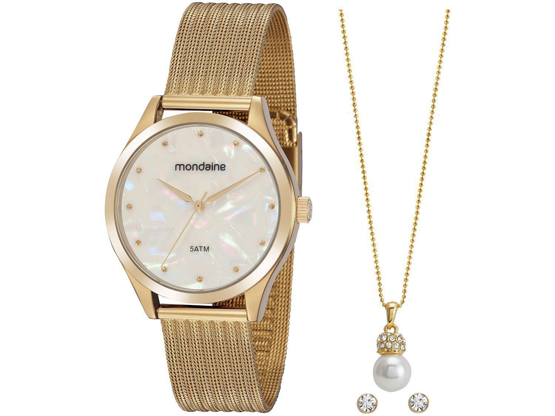 Relógio Feminino Mondaine Analógico - 99459LPMVDE1KB Dourado com Acessórios