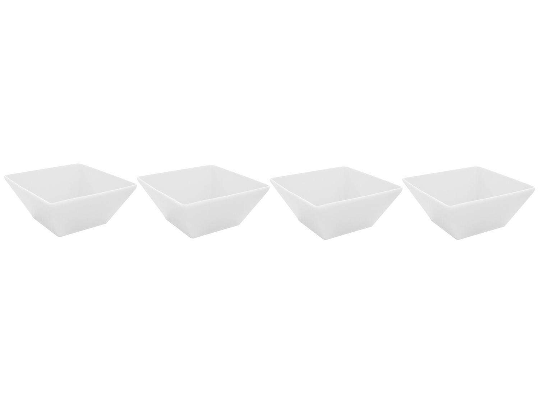 Conjunto de Bowls Porcelana Branco Schmidt - 400ml Gastronômico 4 Peças