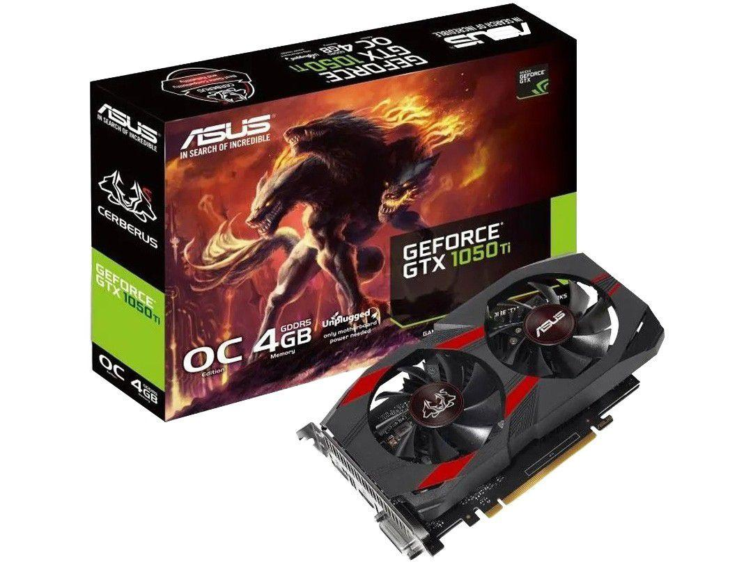 Placa de Vídeo Asus GeForce GTX 1050 TI - 4GB GDDR5 128 bits Cerberus