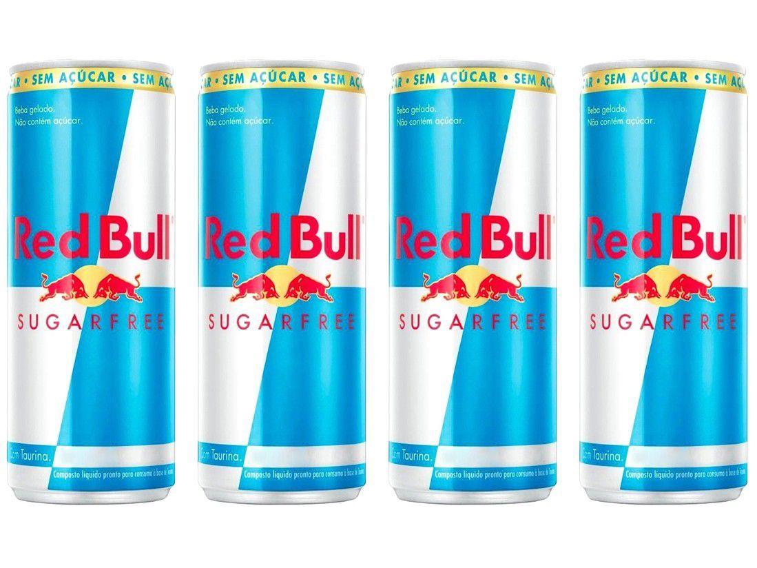 Bebida Energética Red Bull Sugarfree Zero Açúcar - 250ml 4 Unidades