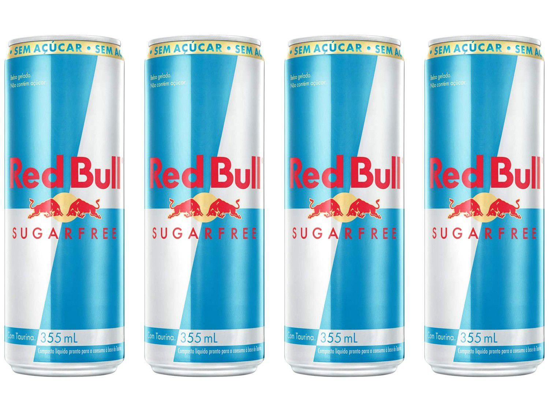 Bebida Energética Red Bull Sugarfree Zero Açúcar - 355ml 4 Unidades