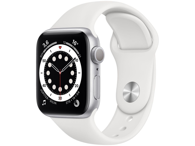 Apple Watch Series 6 40mm Prateada GPS - Pulseira Esportiva Branca