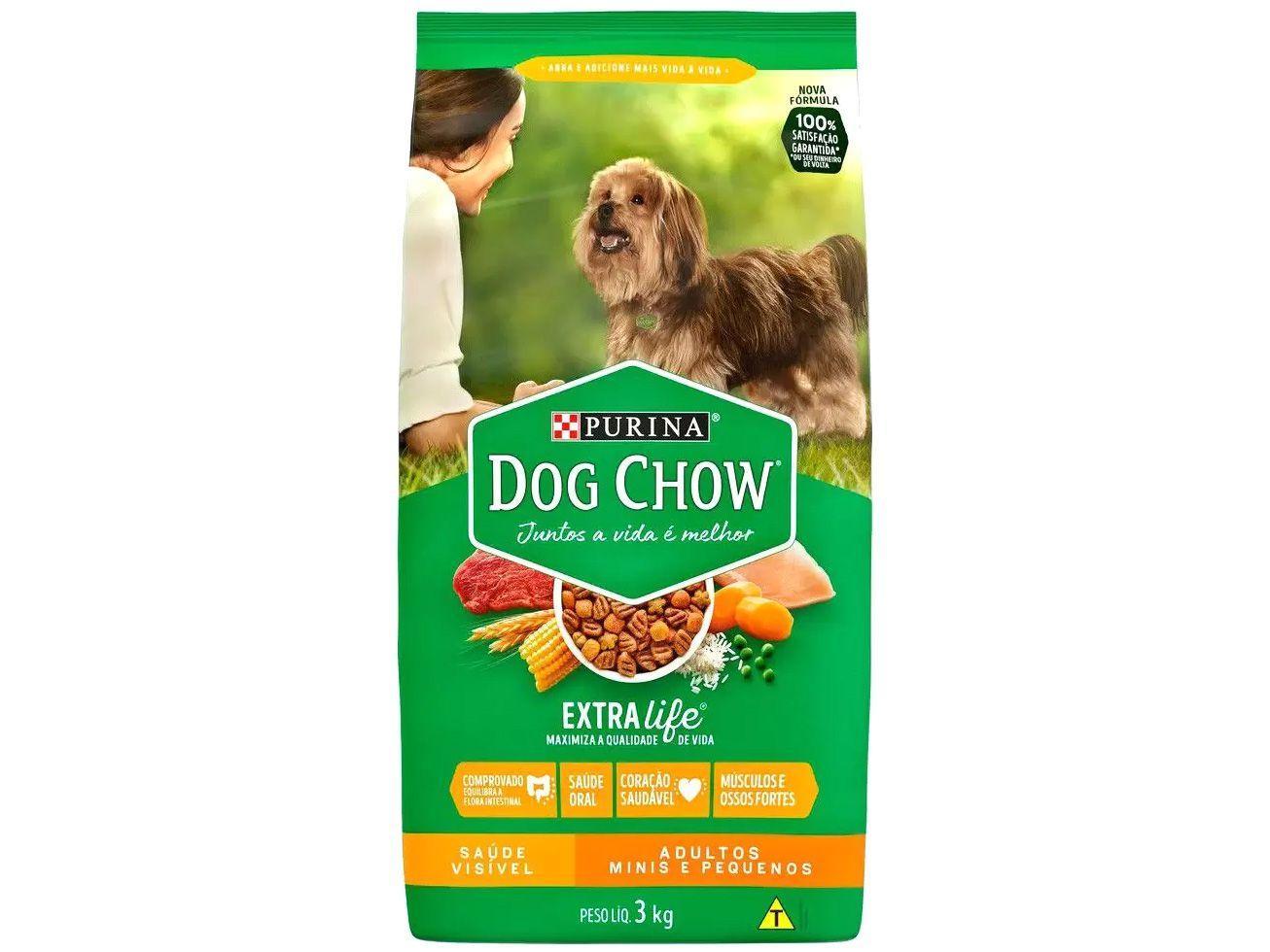 Ração para Cachorro Dog Chow Premium ExtraLife - Saúde Visível Adulto Carne 3kg