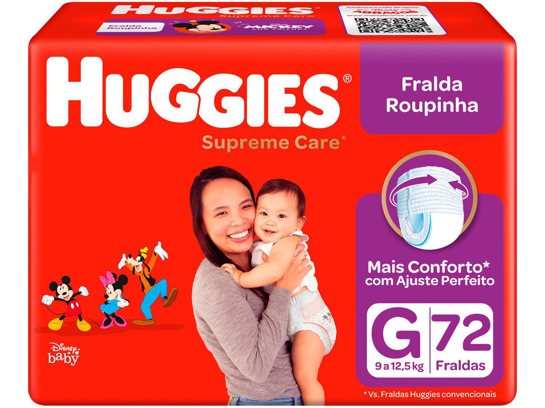 Fralda Huggies Supreme Care Roupinha Calça - Tam. G 9kg a 12,5kg 72 Unidades