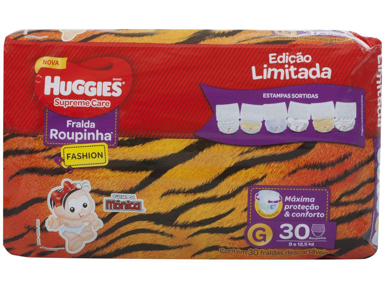 Fralda Huggies Supreme Care Roupinha Fashion Calça - Tam.G 9kg a 12,5kg 30 Unidades