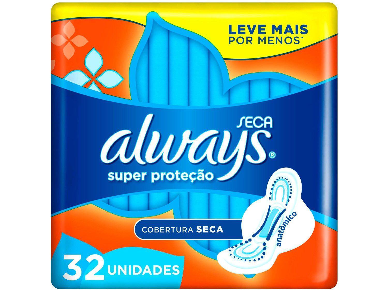 Absorvente Always Super Proteção Seca com Abas - 32 Unidades